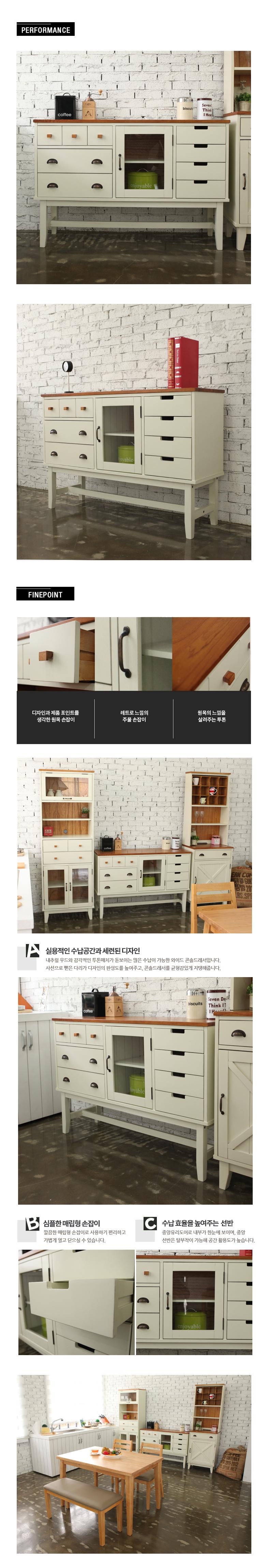 파리엔느 와이드 콘솔 드레서 (화이트) - 가구언니, 399,000원, 서랍장, 와이드 서랍장